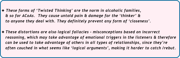 These forms of 'Twisted Thinking' are the norm in alcoholic families, 