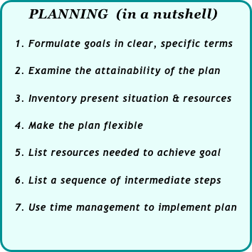 PLANNING  (in a nutshell)