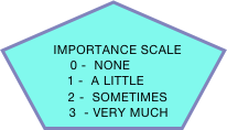 IMPORTANCE SCALE              0 -  NONE           1 -  A LITTLE         2 -  SOMETIMES       3  - VERY MUCH